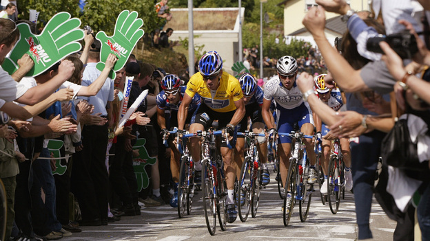 Lance Armstrong, in the yellow leader's jersey, during the 2002 Tour de France. Now, there's no winner of that race or the six others in which he finished first. (Getty Images)
