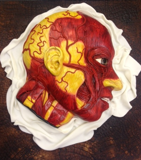 "An Anatomical Model: This sponge cake with marzipan icing by the Conjurer's Kitchen, a specialty baker, depict the art of wax modeling called ""moulage"" first developed during the Renaissance."
