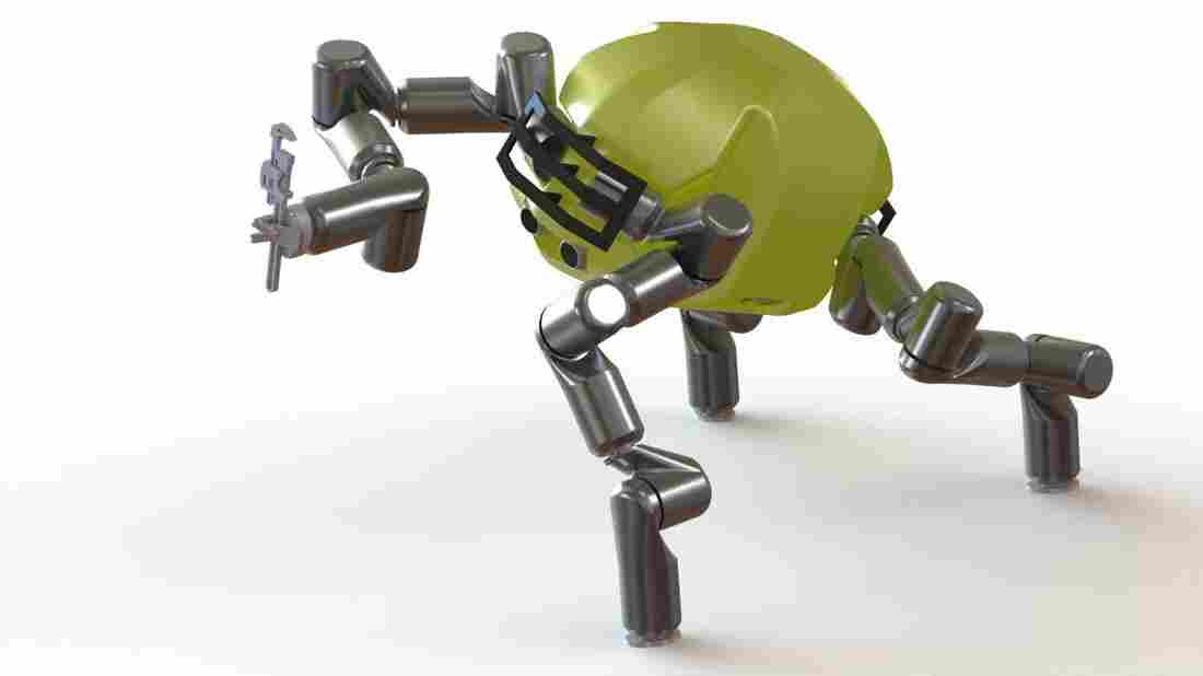 """The """"RoboSimian"""" from NASA's Jet Propulsion Laboratory has the advantage of being able to grasp things with all four limbs, like a chimp. It will compete in the DARPA Robotics Challenge."""