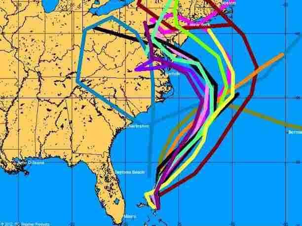 """These are some of the """"spaghetti map"""" models used to generate a forecast for Hurricane Sandy's track. The models have grown increasingly sophisticated over the years."""