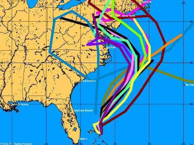"""These are some of the """"spaghetti map"""" models used to generate a forecast for Hurricane Sandy's track. The models have grown increasingly sophisticated over the years. (PCWeather Products Inc.)"""