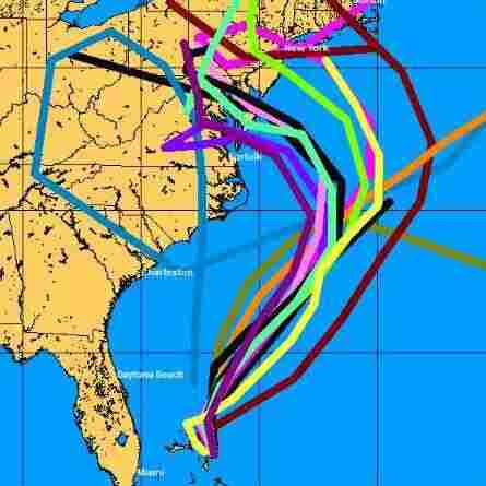 "These are some of the ""spaghetti map"" models used to generate a forecast for Hurricane Sandy's track. The models have grown increasingly sophisticated over the years."