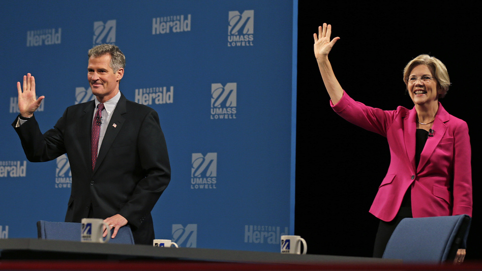 Republican Sen. Scott Brown and Democratic challenger Elizabeth Warren prepare to spar at a debate earlier this month in Lowell, Mass. (AP)