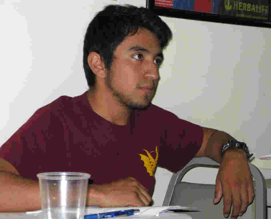 Martin Lopez Galicia, 21, takes a Freedom University class in a basement in Athens, Ga.