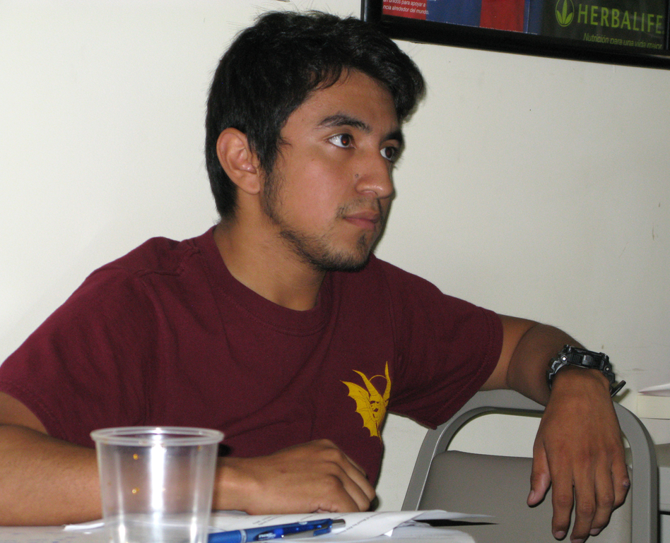 Martin Lopez Galicia, 21, takes a Freedom University class in a basement in Athens, Ga. (NPR)