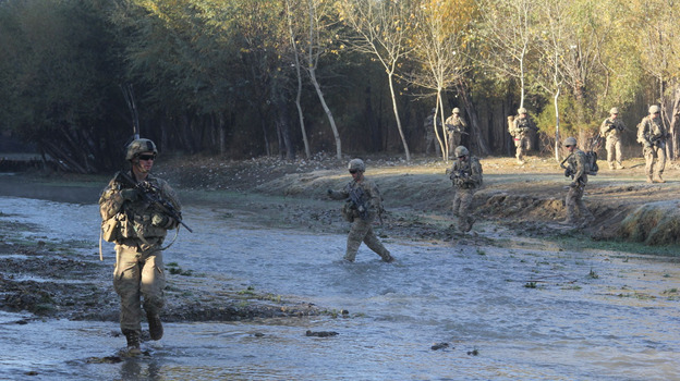 U.S. troops patrol in the Baraki Barak district of Logar province, Afghanistan. (NPR)