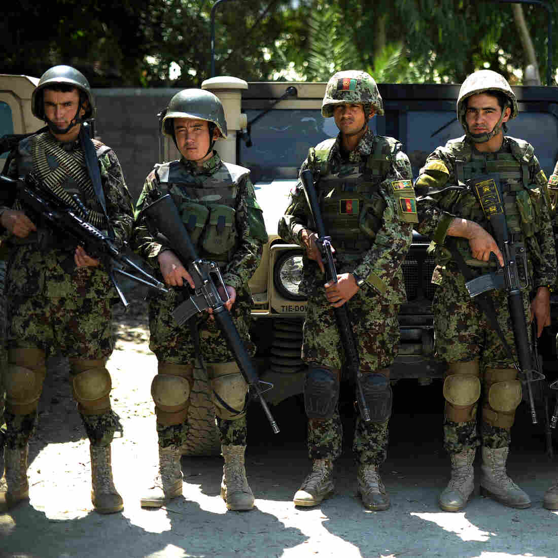Afghan National Army soldiers at Camp Joyce base in Kunar Province in August.