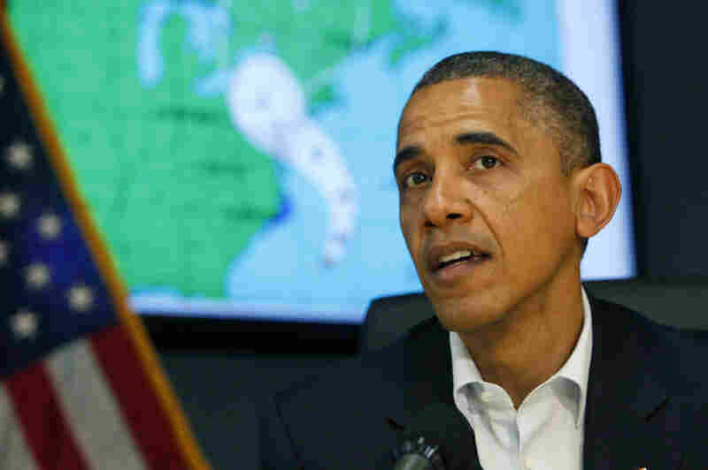 President Obama makes a statement after a briefing on Hurricane Sandy at FEMA headquarters Sunday in Washington. The president and Republican nominee Mitt Romney both canceled East Coast campaign appearances.