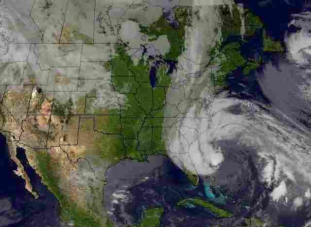 Hurricane Sandy's huge cloud extends up to 2,000 miles based on a satellite image from Sunday.