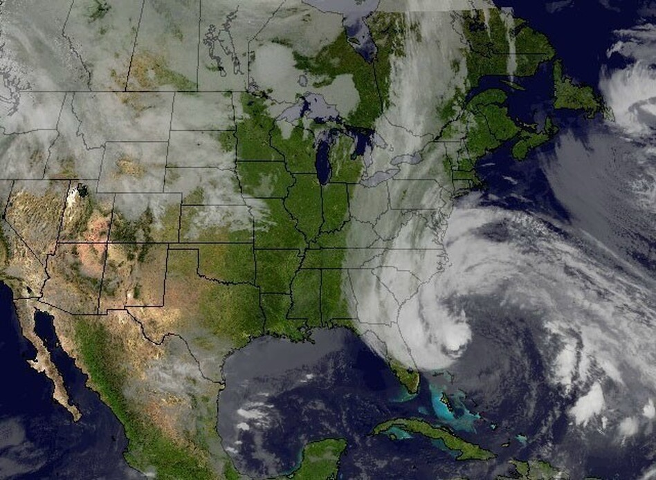 Hurricane Sandy's huge cloud extends up to 2,000 miles based on a satellite image from Sunday.<em></em>