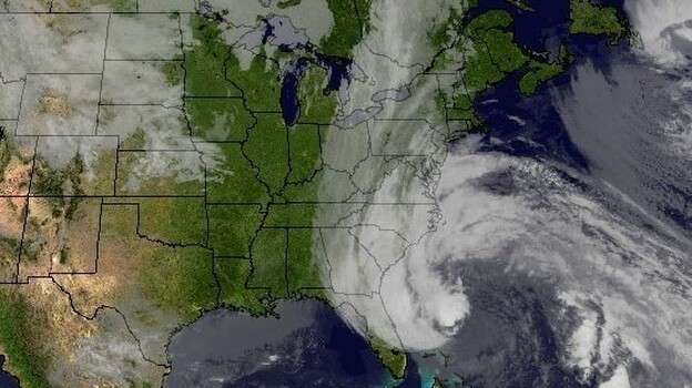 Hurricane Sandy's huge cloud extends up to 2,000 miles based on a satellite image from Sunday. (NASA GOES Project)