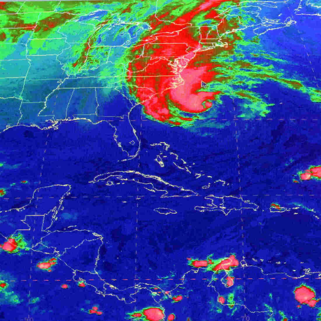 This satellite image from the National Hurricane Center in Miami shows Sandy at 10:03 a.m., Sunday.