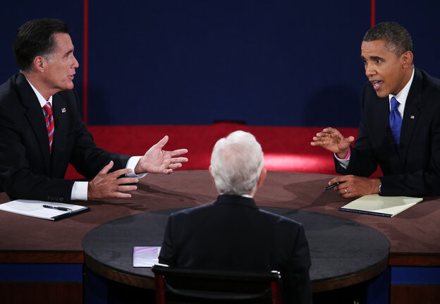 President Barack Obama (R) debates with Republican presidential candidate Mitt Romney (L) as moderator Bob Schieffer listens on Oct. 22, 2012.