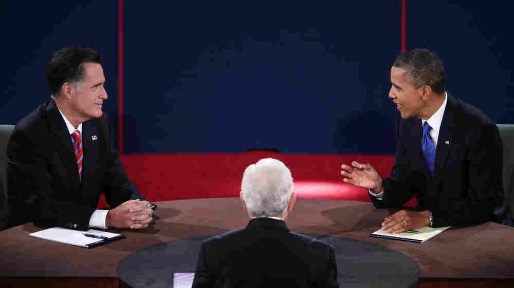Republican presidential nominee Mitt Romney and President Obama debate on Oct. 22 at Lynn University in Boca Raton, Fla.