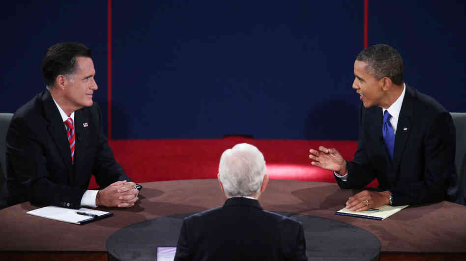 Republican presidential nominee Mitt Romney and President Obama debate on Oct. 22 at Lynn University in Boca Raton, Fla.