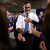 Mitt Romney greets supporters Sunday during a campaign rally in Findlay, Ohio.