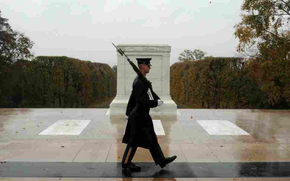 Spc. Brett Hyde, Tomb Sentinel, 3d U.S. Infantry Regiment (The Old Guard), keeps guard over the Tomb of the Unknown Soldier during Hurricane Sandy at Arlington National Cemetery, Va.