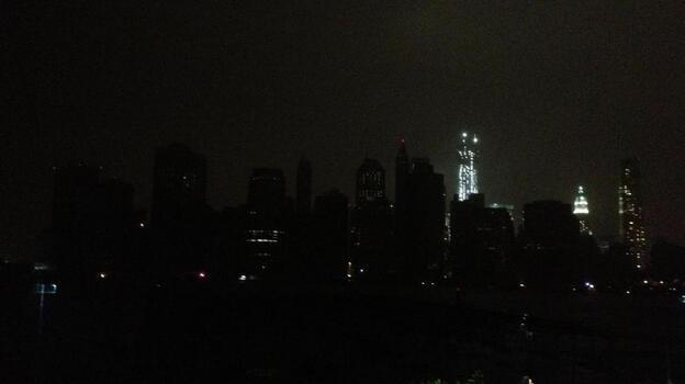 Lower Mahanttan in the dark. (via Twitter)
