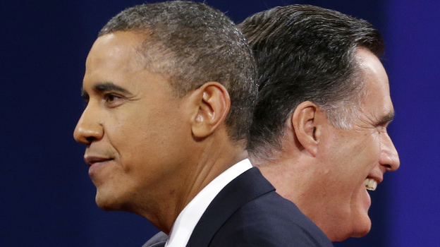 A new NPR poll shows the outcome of the Nov. 6 election is too close to call. Mitt Romney leads President Obama nationwide; Obama leads Romney in key battleground states. Both leads are within the poll'€™s margin of error. (AP)