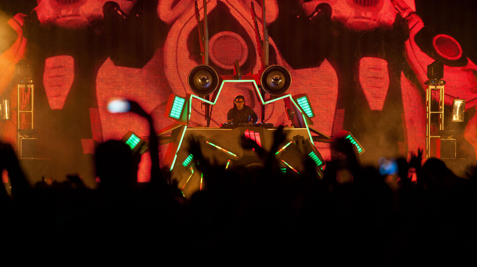 Skrillex performs at the Virgin Mobile FreeFest in Columbia, Md. on October 6. (The Washington Post/Getty Images)