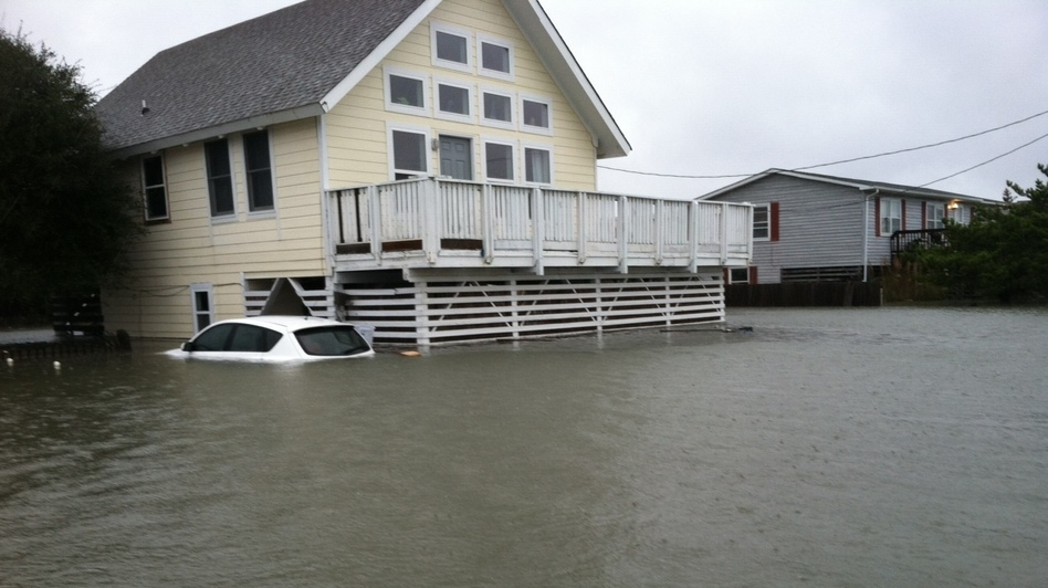The water in Kitty Hawk, N.C. rose quickly.