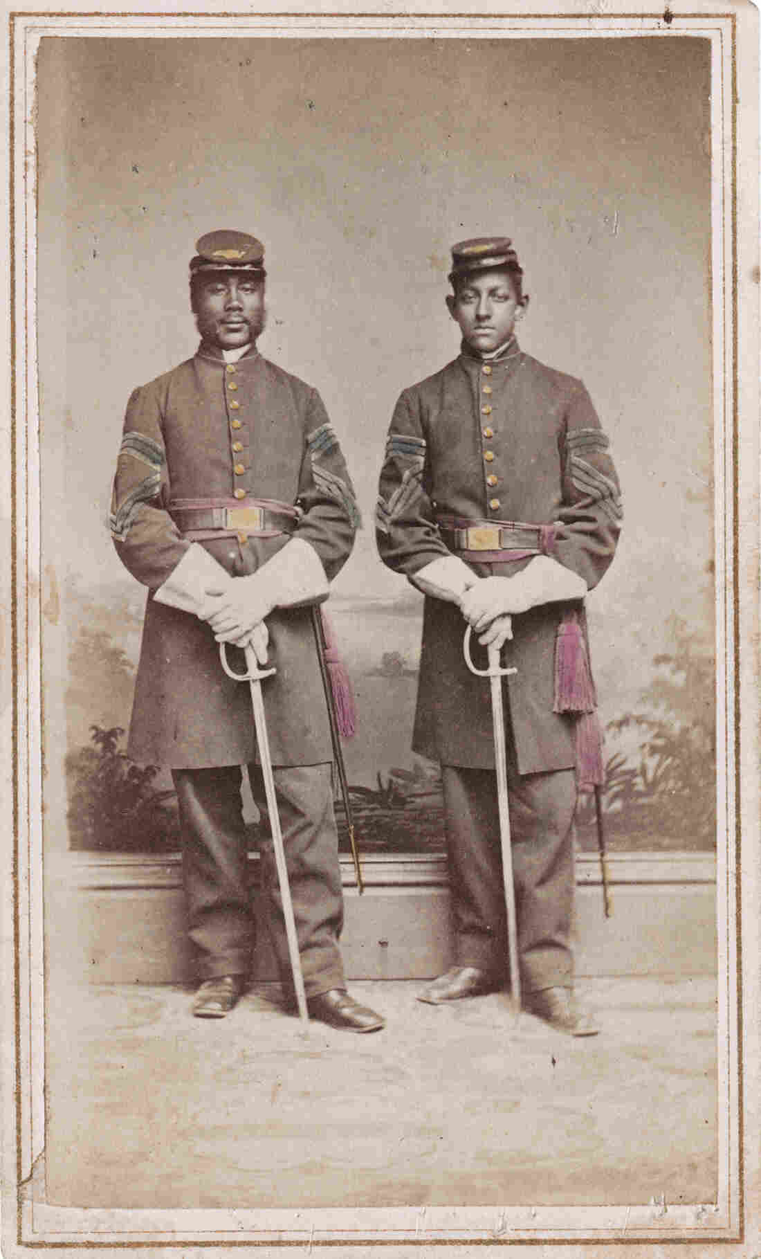 "Sgt. Alexander Herritage Newton (left) and Sgt. Daniel S. Lathrop. ""After obtaining permission to publish [this],"" writes Coddington, ""I discovered Newton's autobiography, Out of the Briars. This honest and able account of his life experiences is one of the best personal Civil War narratives that I have read."""