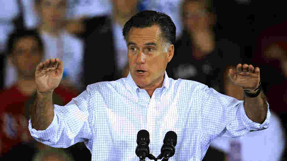Mitt Romney speaks Monday at a campaign event at Avon Lake High School in Avon Lake, Ohio.