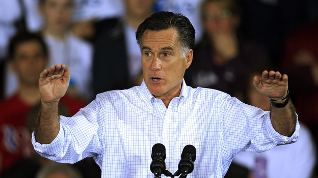 Mitt Romney speaks Monday at a campaign event at Avon Lake High School in Avon Lake, Ohio. (AP)