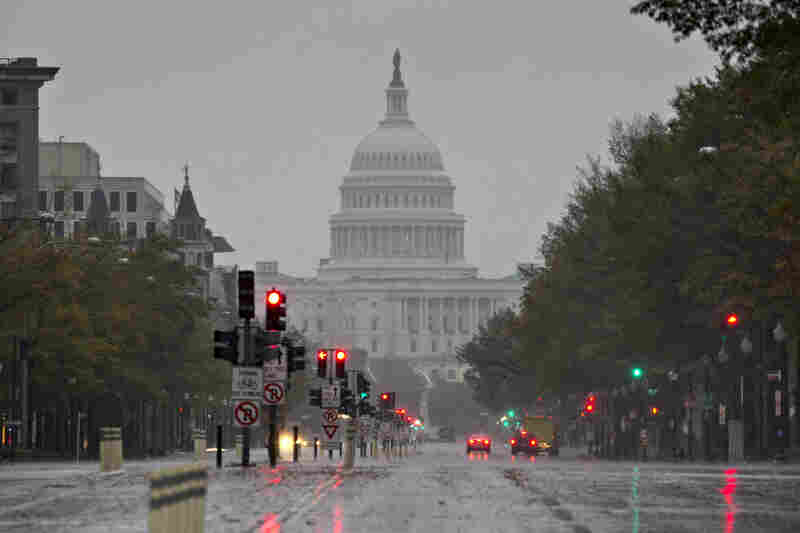 Washington, D.C., braced for heavy rains and high winds as Hurricane Sandy approached.