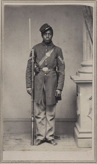 "Corp. Wilson Weir was a slave when he joined the Union army at age 21. ""My initial attraction to old photos was purely aesthetic, and this still continues to be the dominant motivating factor,"" writes Coddington. ""This carte de visite meets and exceeds my criteria. ... He wears his hat at a jaunty angle, perhaps reflective of his character."""
