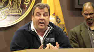 New Jersey Gov. Chris Christie gives a press conference on Hurricane Sandy in Old Bridge, N.J., on Monday.