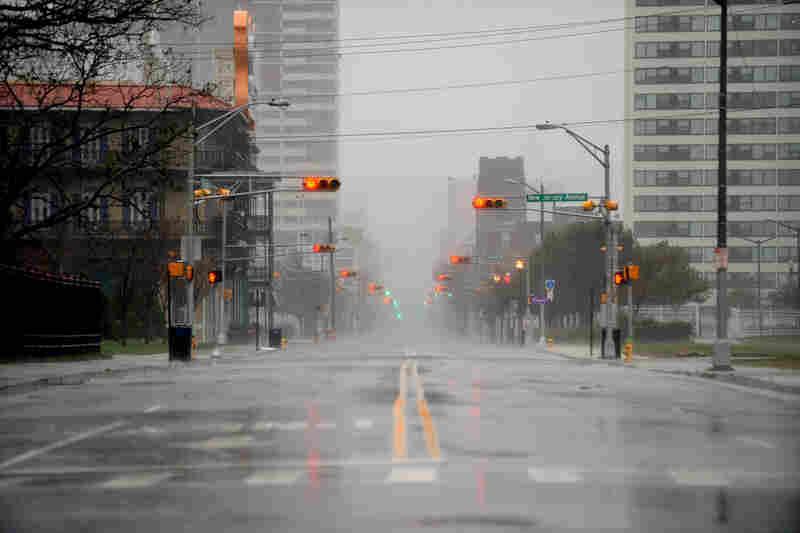 Empty streets in Atlantic City, N.J., on Monday.