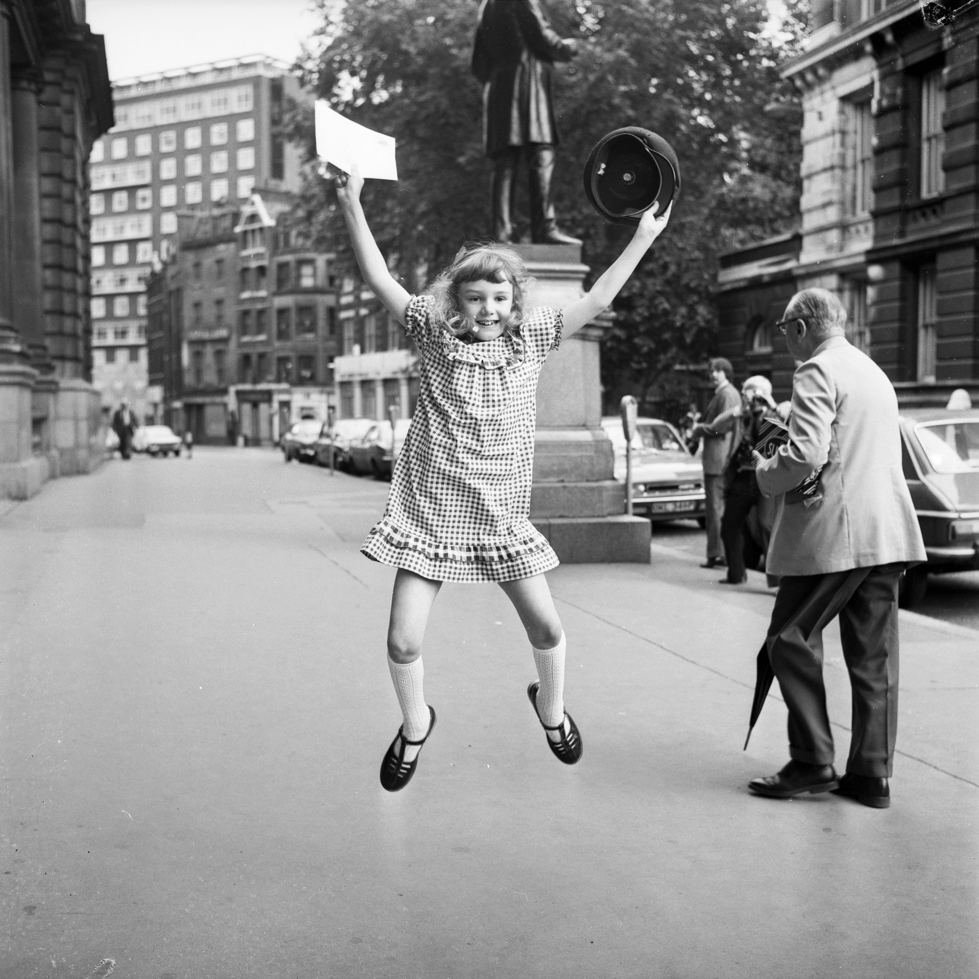 30th July 1980: Eight year old Helen Marr celebrating after being voted the best young letter writer in Britain, in a contest run by the Post Office. (Photo by Ray Moreton/Keystone/Getty Images)