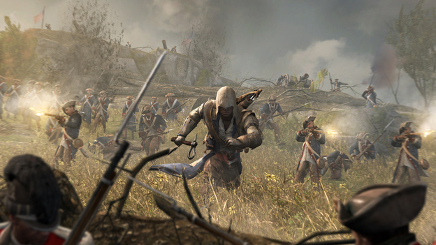 For the latest installment of Ubisoft's Assassin's Creed series, set in Colonial America, the hooded main character is part Mohawk. The company brought in a Mohawk consultant and hired a Native actor to play the role. (Courtesy of Ubisoft)