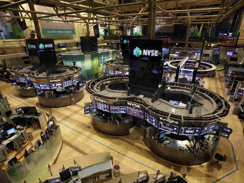 The floor of the New York Stock Exchange was empty of traders Monday, as New York's financial district braced for the onslaught of Hurricane Sandy.