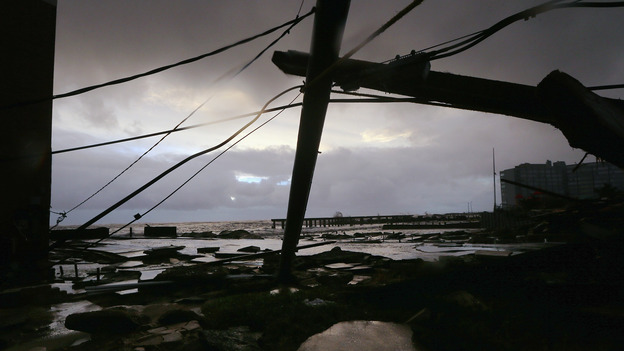 Debris and sections of a destroyed boardwalk in Atlantic City, N.J., earlier today. (Getty Images)