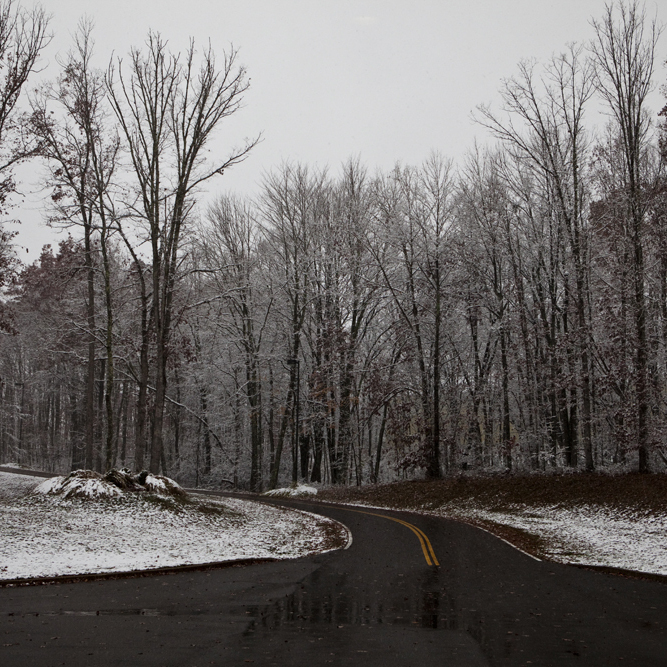 Snow starts to stick in Beckley, W. Va., on Oct. 29.