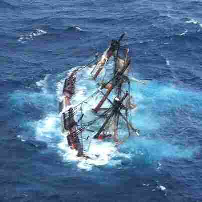 The 180-foot sailing vessel Bounty goes down off the North Carolina coast on Monday.