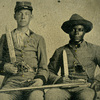 "This rare portrait shows an identified Confederate noncommissioned officer, Sgt. Andrew Martin Chandler (left), and his named slave, Silas Chandler (right). It is the only Confederate photograph in the book by Rod Coddington, African American Faces of the Civil War. Born into slavery, Silas ""was one of thousands of slaves who served as [body servants] during the war,"" writes Coddington."