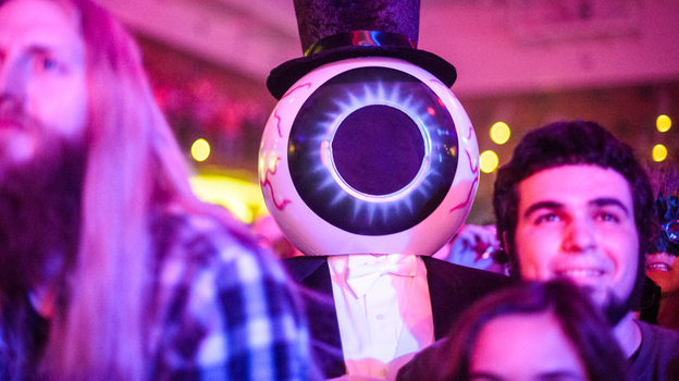 Moogfest always draws a creative crowd. But the festival's proximity to Halloween inspires some fans to dress in unusual costumes. (Adam Kissick for NPR)
