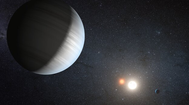 This artist's concept illustrates Kepler-47, the first transiting circumbinary system — multiple planets orbiting two suns — 4,900 light-years from Earth, in the constellation Cygnus.