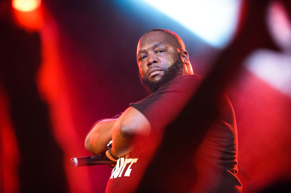 In addition to electronic and dance music, Moogfest also features groundbreaking hip-hop performers, including Atlanta rapper Killer Mike, who struck a pose during his set at The Orange Peel.