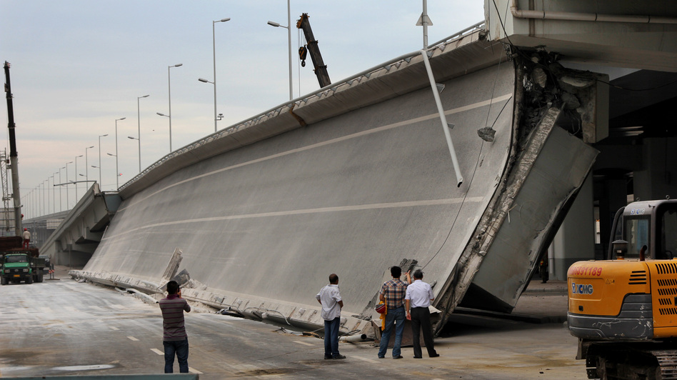 Eight bridges have collapsed around China since 2011. Here, government investigators examine a recently built entrance ramp that collapsed this summer in the northeastern city of Harbin, killing three people. Local residents believe government corruption and substandard materials are to blame. (NPR)