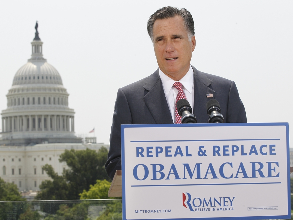 Republican presidential candidate Mitt Romney speaks about the Supreme Court ruling on health care in Washington on June 28.
