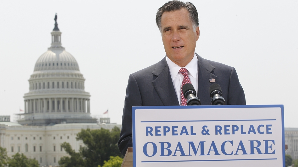 Republican presidential candidate Mitt Romney speaks about the Supreme Court ruling on health care in Washington on June 28. (AP)