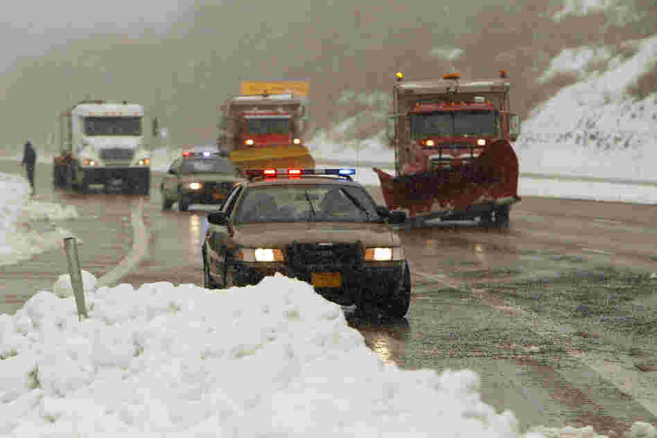 Snowplows open Interstate 68 in Garrett County, Md.