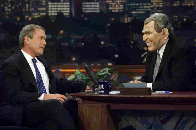 """""""Waaaiiit a minuuuute. Hey now, Jay. That's not funny!"""" (George Bush makes an appearance on The Tonight Show with Jay Leno while campaigning in 2000.)"""