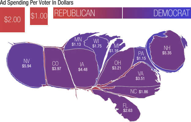 The United States, with state size based on political ad spending by outside groups on presidential race per voting age adult.