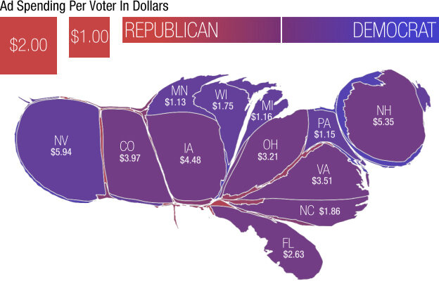 A Campaign Map Morphed By Money Its All Politics NPR - Map of us with states per electoral votes