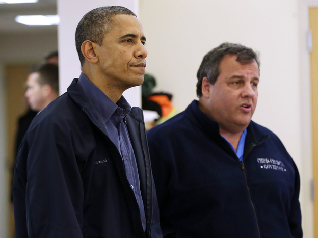 President Obama and New Jersey Gov. Chris Christie at the Brigantine Beach Community Center in Brigantine, N.J., where they met with local residents displaced by Sandy. (AP)